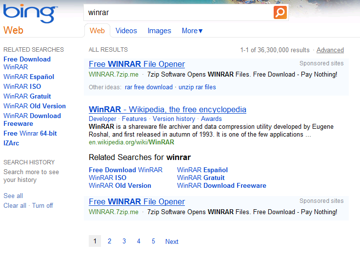 Bing vs  Google on Downloading WinRAR [Winner: Google] | RETROVOLTAGE